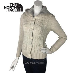 The North Face cable knit sweater hooded cardigan